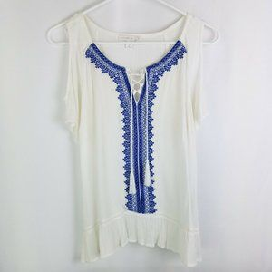Westpoint Cold Shoulder Embroidered Peasant Top